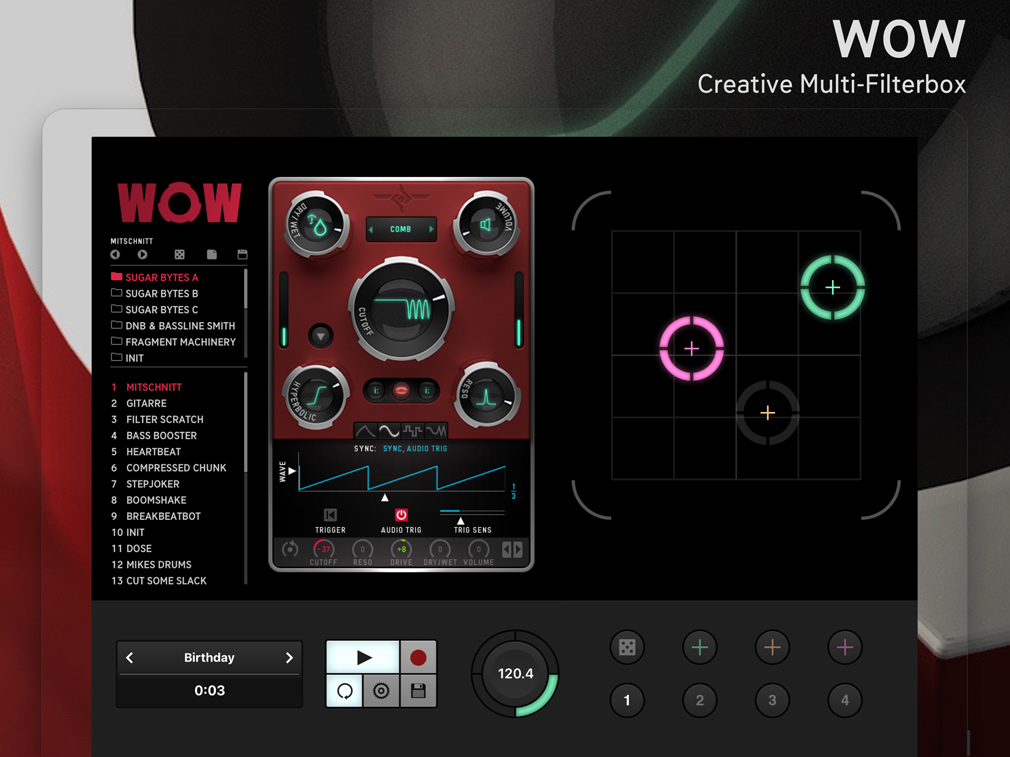 Sugar Bytes announces AUv3 and iCloud Drive support for WOW2 iPad Edition
