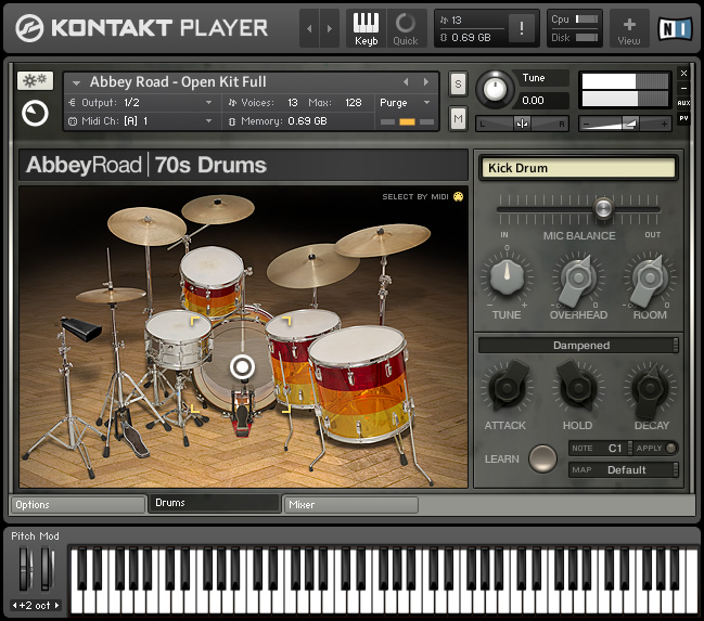 Native Instruments Abbey Road 70s Drums KONTAKT (1 dvd)