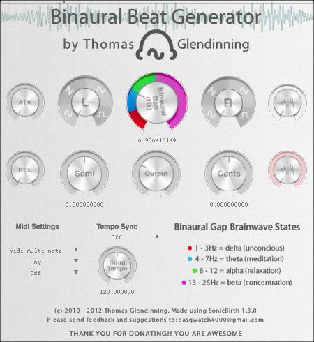 KVR: Binaural Beat Generator by Thomas Glendinning - Synth