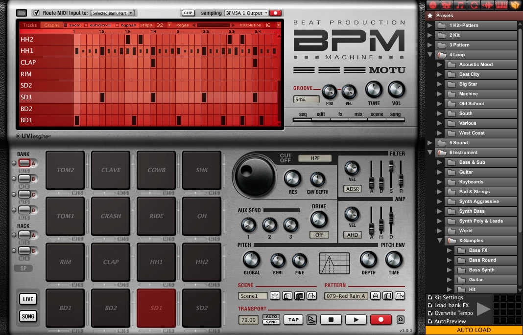 kvr  bpm  beat production machine  by motu
