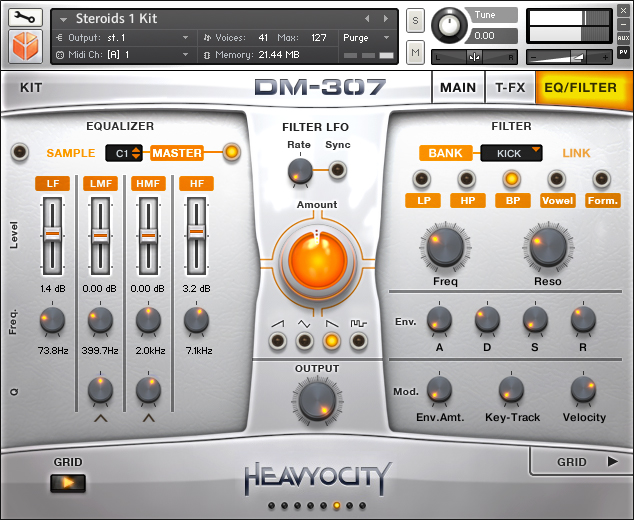 DM-307 EQ/Filter Page