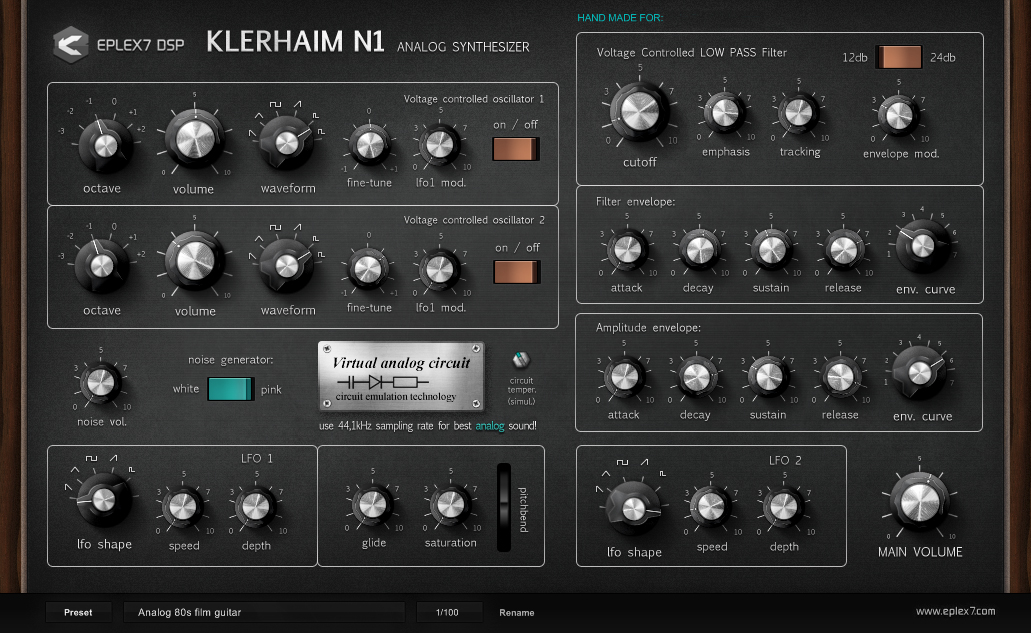 Klerhaim N1 analog plugin synthesizer