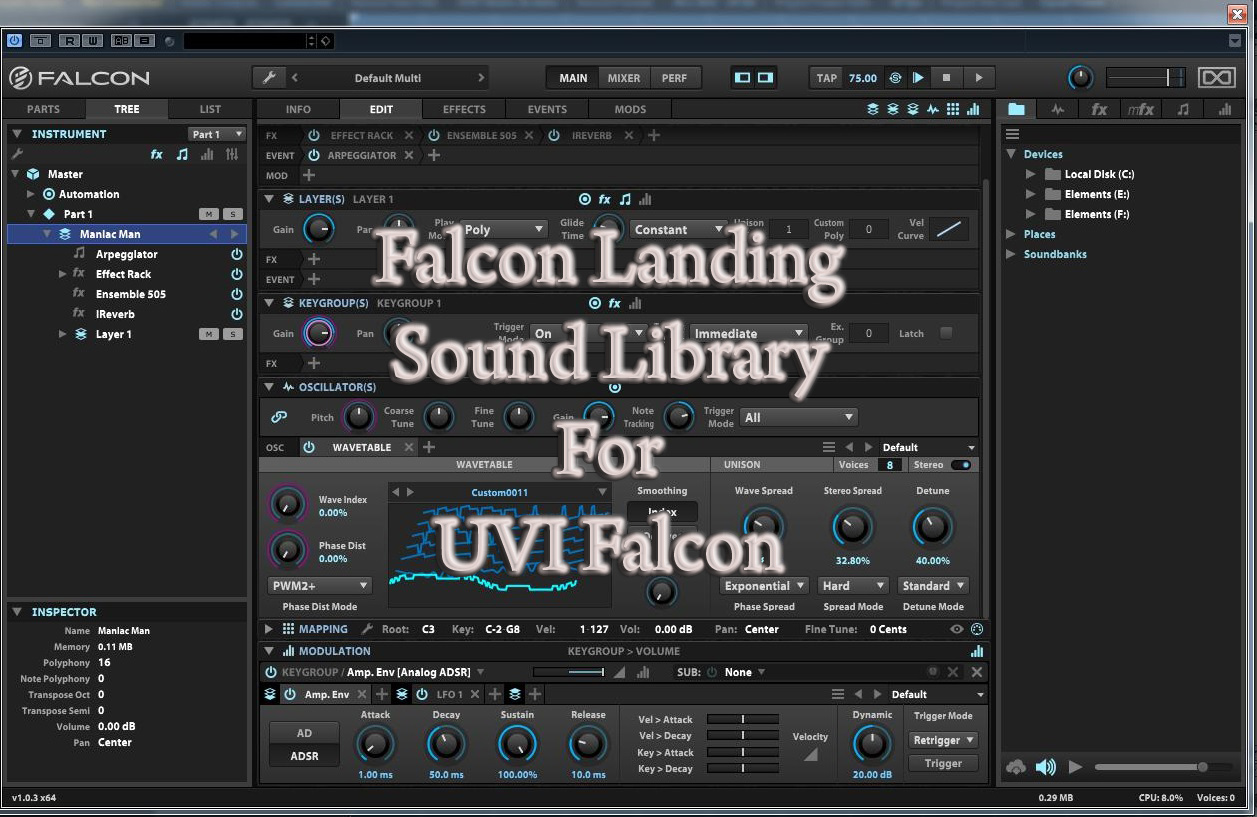kvr uvi falcon sound library by wagsrfm presets for falcon. Black Bedroom Furniture Sets. Home Design Ideas