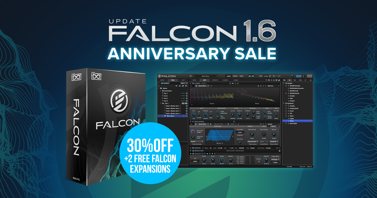 KVR: UVI launches Falcon v1 6 and anniversary promotion of