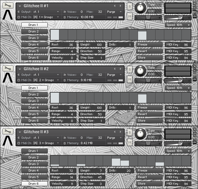 kvr audiomodern releases glitchee ii glitch cuts drum machine module for kontakt. Black Bedroom Furniture Sets. Home Design Ideas