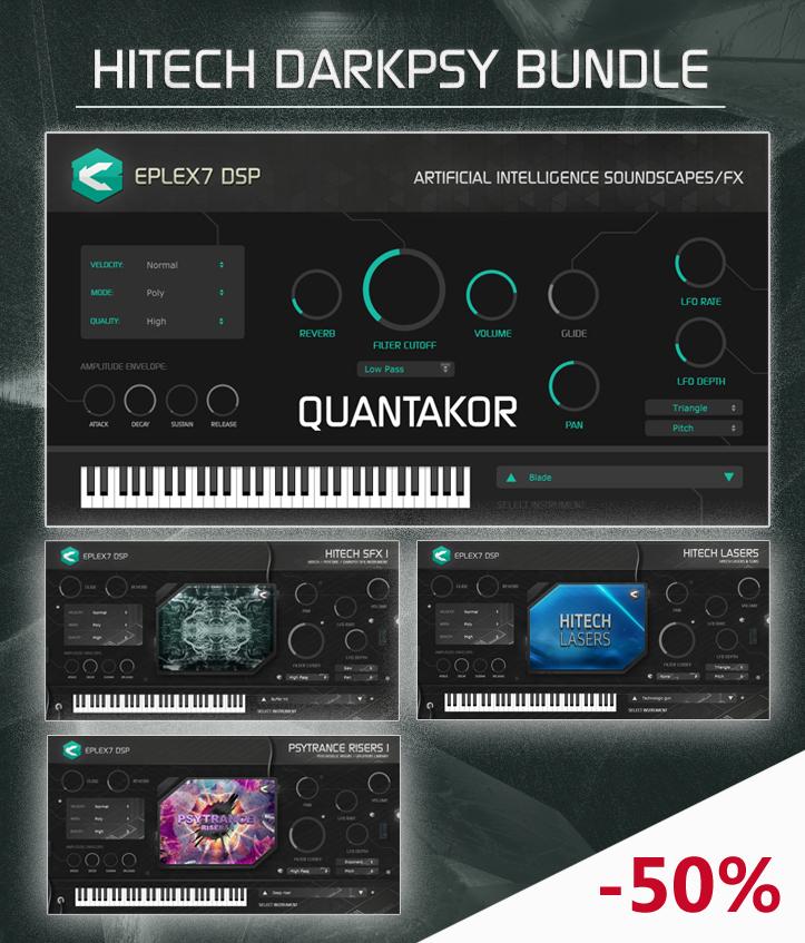 Hitech darkpsy bundle: Quantakor plugin + 3x instrument banks (Win/Mac)