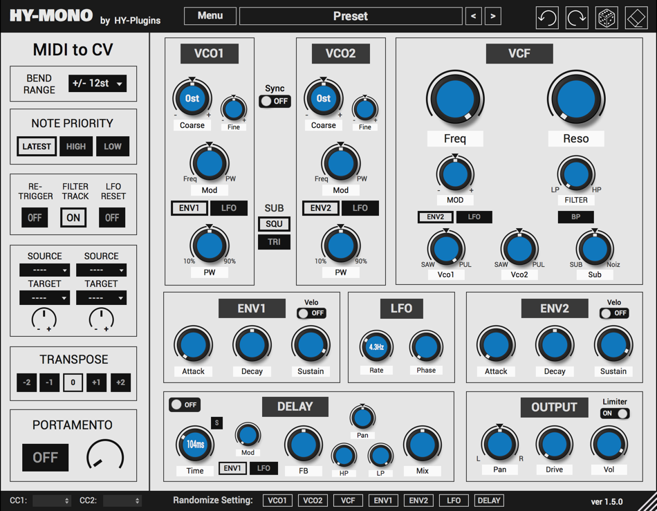 KVR: HY-Mono by HY-Plugins - Monophonic VST Plugin and Audio