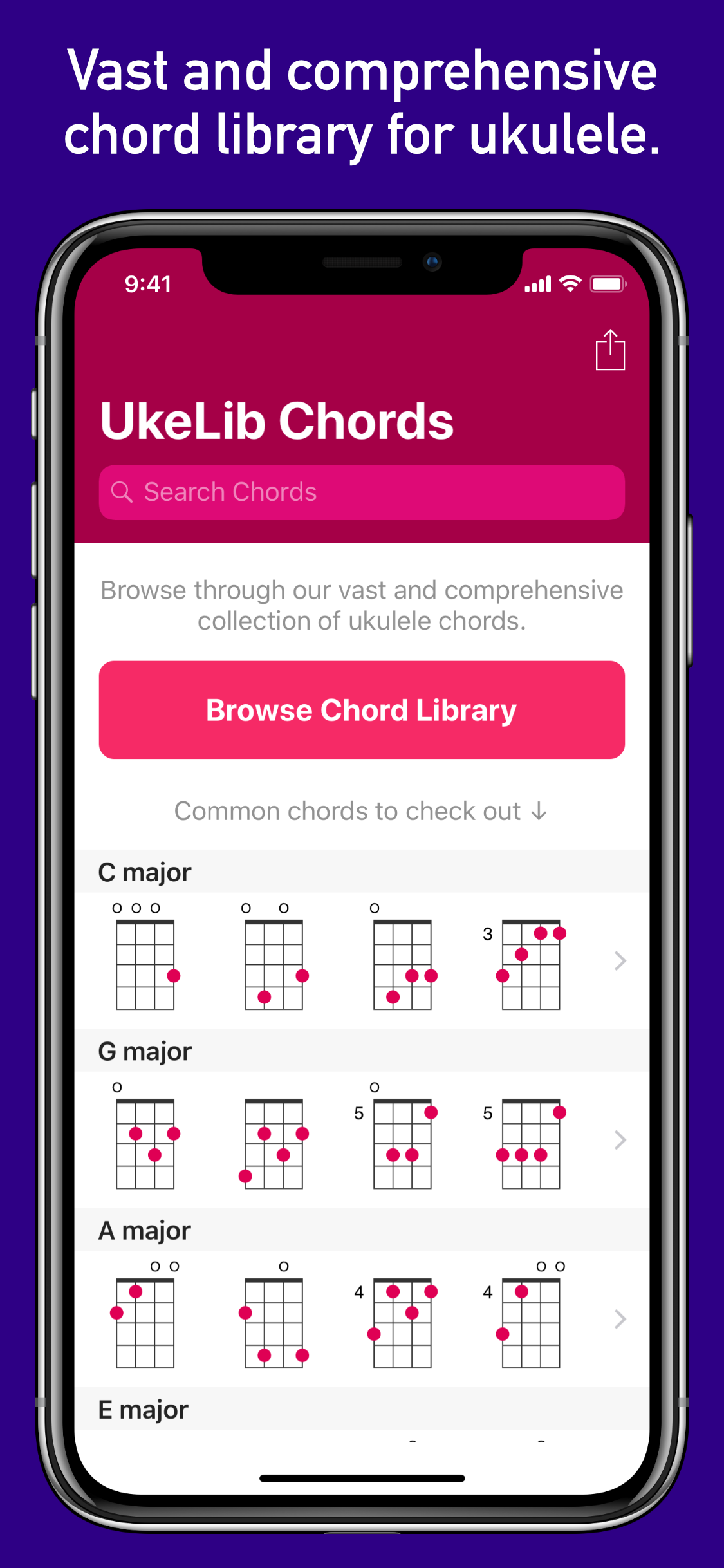 Vast and comprehensive chord library for ukulele