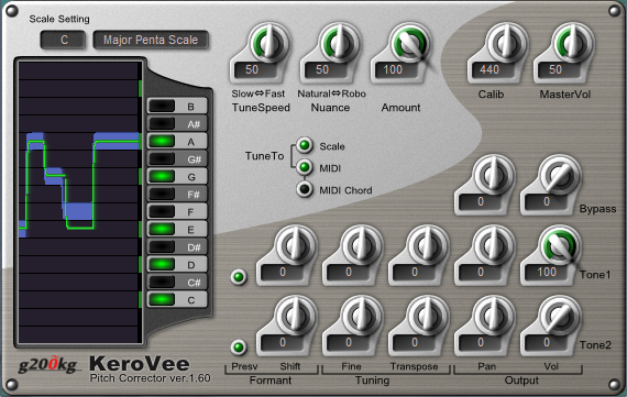 KVR: KeroVee by g200kg - Pitch Correction / Auto-tuning VST Plugin