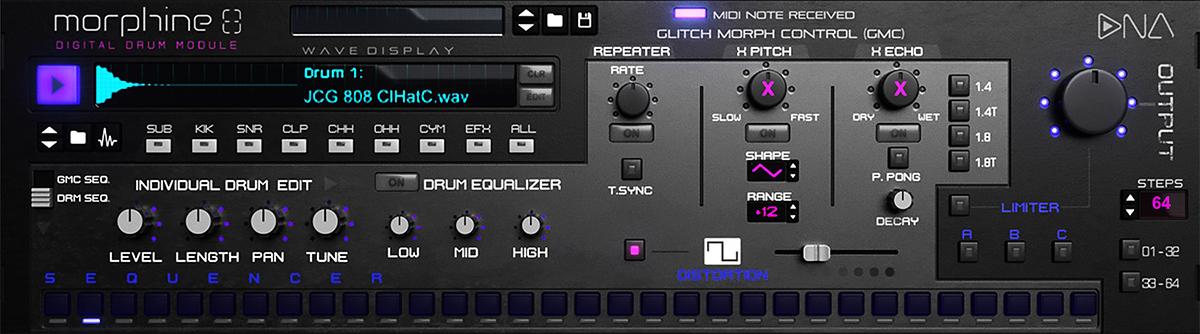 Morphine 8 Digital Drum Module Rack Extension (For Reason Studios DAW)