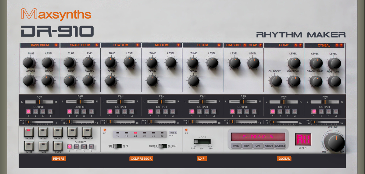 kvr dr 910 by maxsynths tr 808 vst plugin. Black Bedroom Furniture Sets. Home Design Ideas