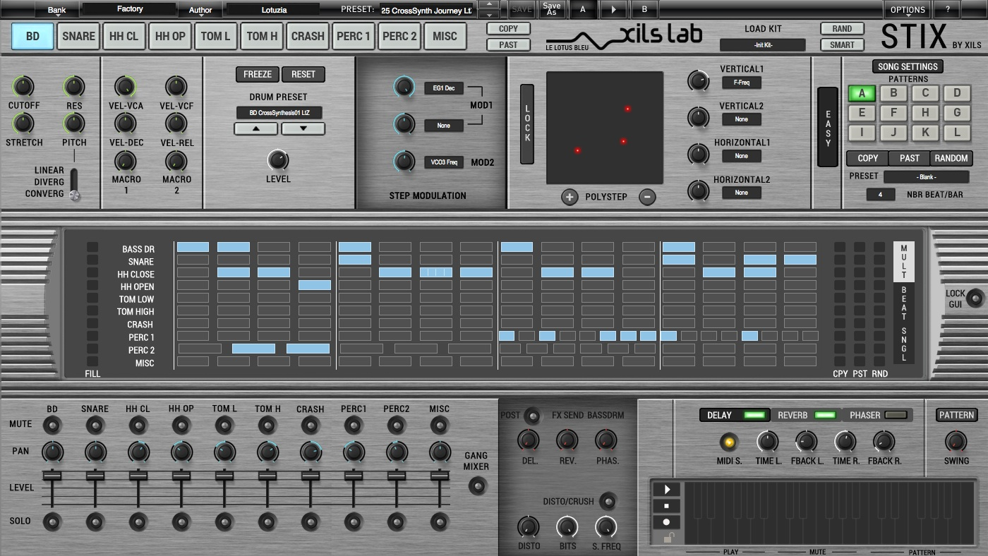 kvr stix by xils by xils lab drum machine vst plugin audio units plugin rtas plugin and aax. Black Bedroom Furniture Sets. Home Design Ideas