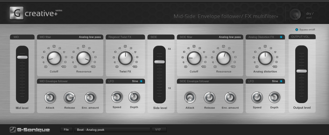 Mid-Side Envelope Follower FX Multifilter+