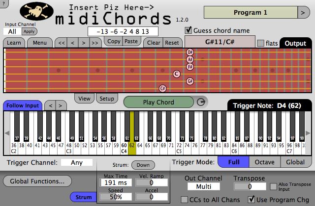 KVR: midiChords by Insert Piz Here - MIDI Chorder VST Plugin