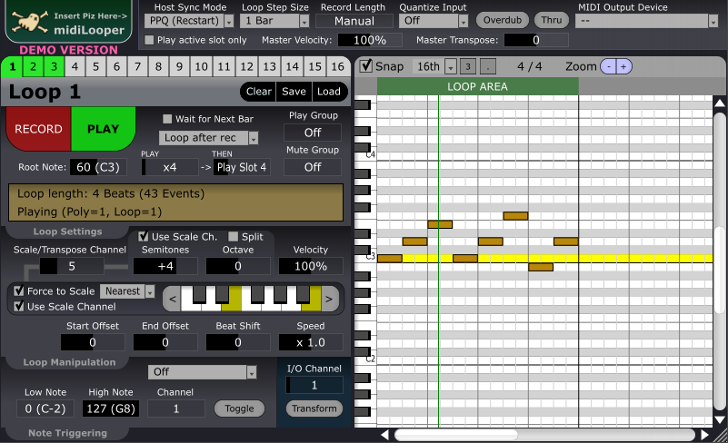 KVR: midiLooper by Insert Piz Here - MIDI Editor / Pattern Sequencer
