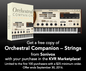 Get a Free copy of Orchestral Companion Strings from Sonivox with your purchase in the KVR Marketplace!