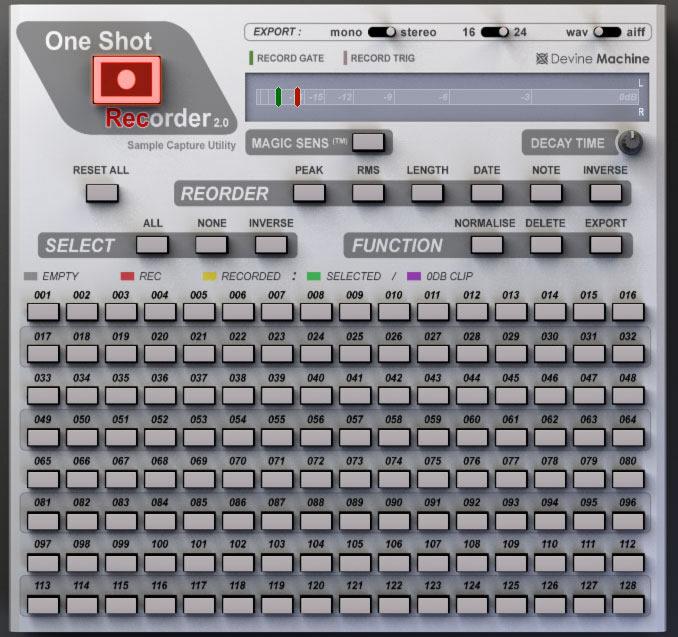 KVR: One Shot Recorder by Devine Machine Software - Audio Recorder