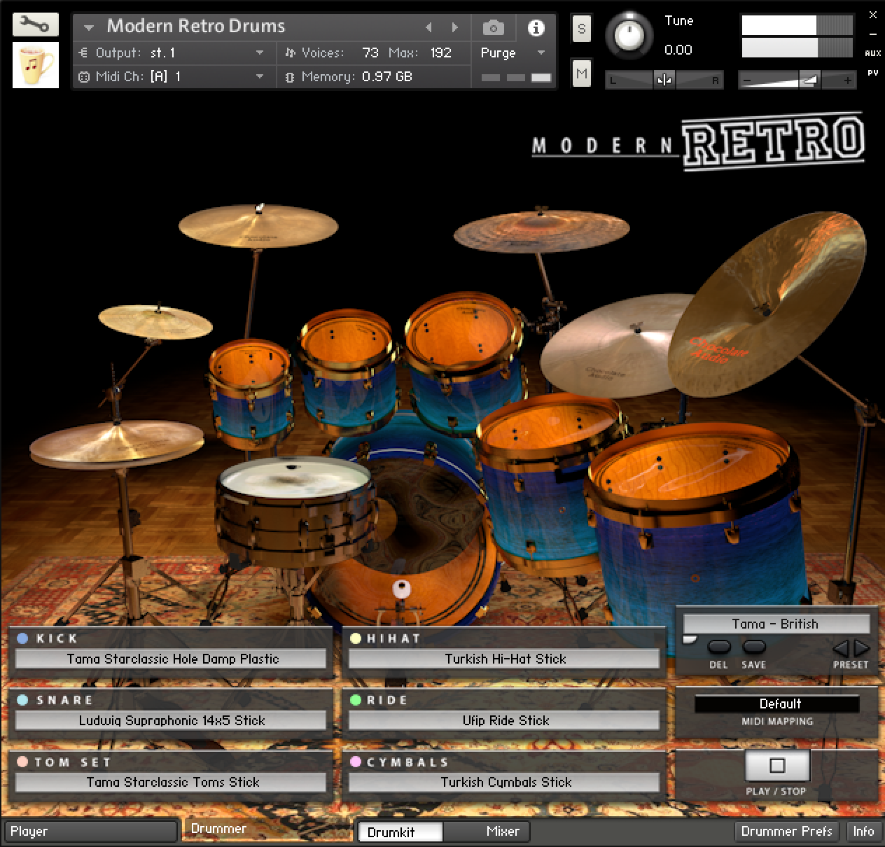 KVR: Modern Retro Drums (Kontakt) by Chocolate Audio - Drums