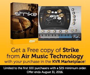 Get a Free copy of Strike from Air Music Technology with your purchase in the KVR Marketplace!