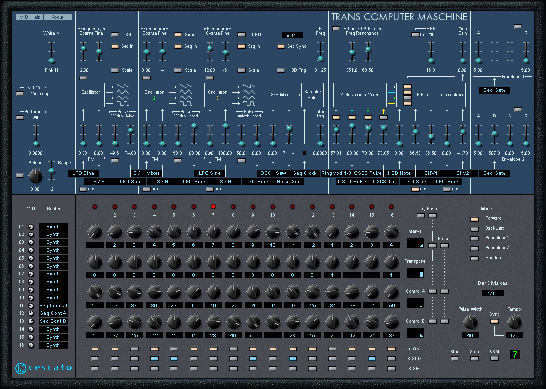 Trans computer maschine is a semi modular vintage lead synthesizer