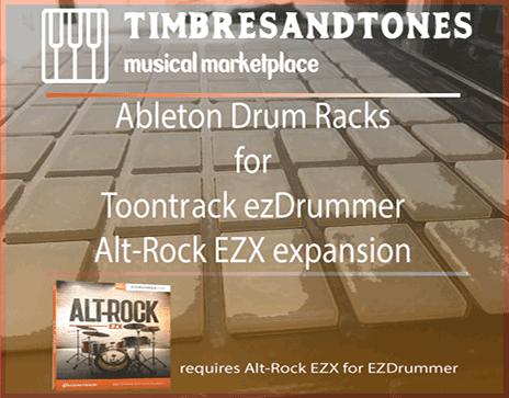Ableton Drum Racks for ezDrummer Alt-Rock EZX expansion
