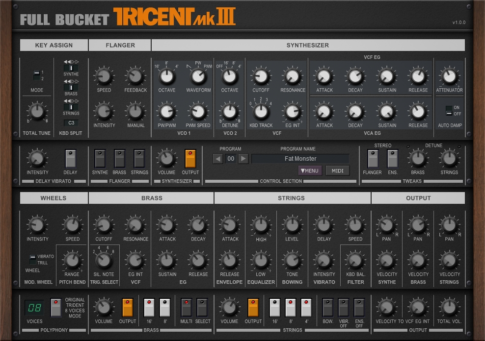 Full Bucket Music releases Tricent mk III for Mac & Win VST & AU