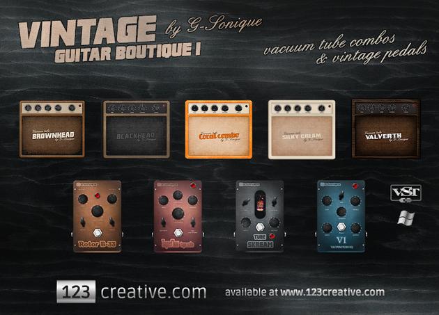 kvr 123creative releases g sonique vintage guitar boutique 1 vst guitar effects. Black Bedroom Furniture Sets. Home Design Ideas