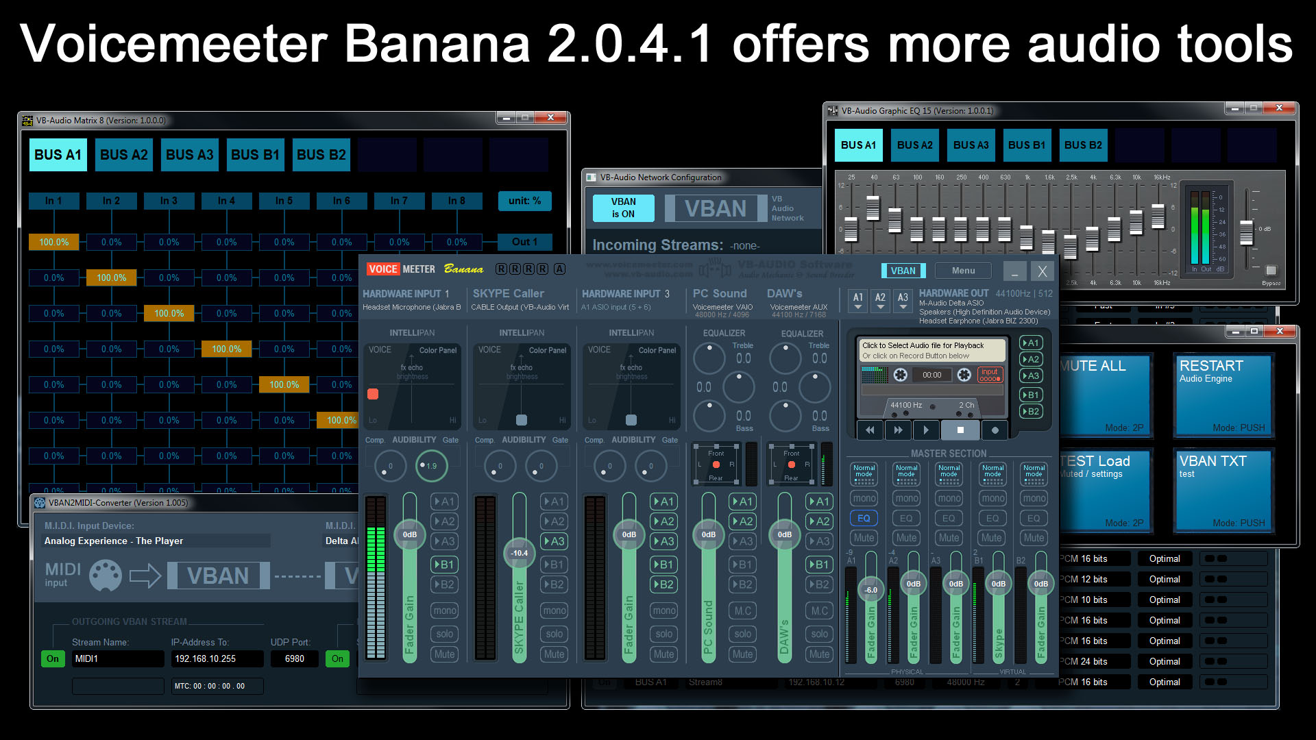 KVR: VB-Audio updates Voicemeeter Banana to v2 0 4 1 to provide