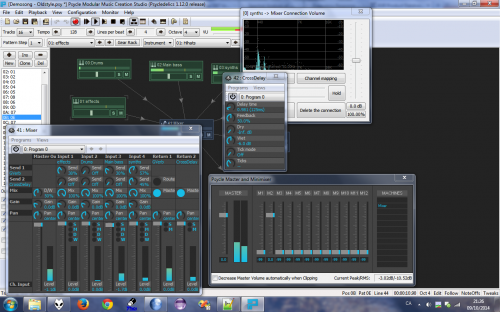 Psycle machine view, with mixer wire dialog and master
