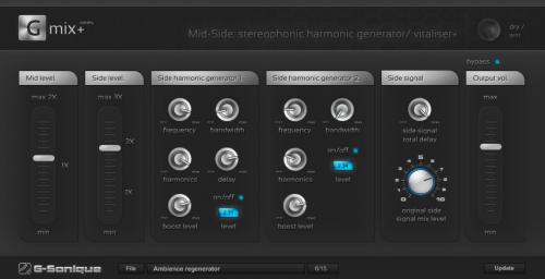 Mid-Side: stereophonic harmonic generator/vitaliser+