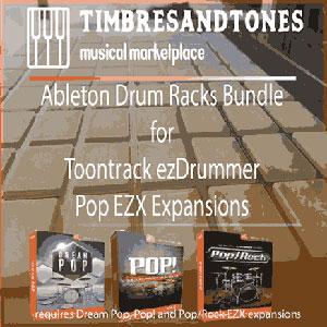 Ableton Drum Racks for Toontrack ezDrummer Pop EZX Bundle – Pop, Dream Pop and Pop/Rock EZX expansions