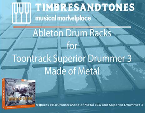 Ableton Drum Racks for Superior Drummer 3 Made of Metal EZX