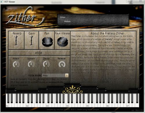 Fretless Zither GUI