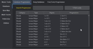 Database of common progressions