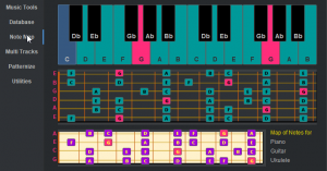 Notes map for keyboard and fretboard