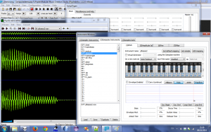 Psycle showing the wave editor and the new instruments editor for sampulse. Sampulse is shown below, on top right.
