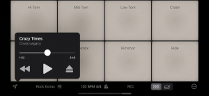 Play along with songs from your iOS Media Library or Apple Music in Rhythm Pad (Version 5)