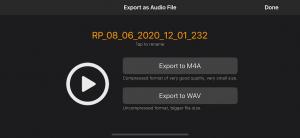 Export recordings as audio files in Rhythm Pad (Version 5)