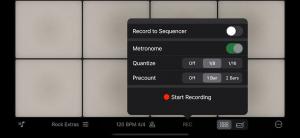 Recording options in Rhythm Pad (Version 5)